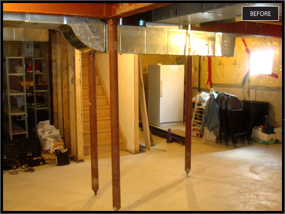 Steel Pole Removal, Basement Ductwork Too Low